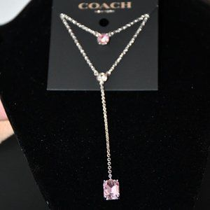 Coach Y Necklace in Silver/Pink #91418 SV/Pk NWT